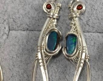 Wire wrapped earrings - hessonite garnet and boulder opal