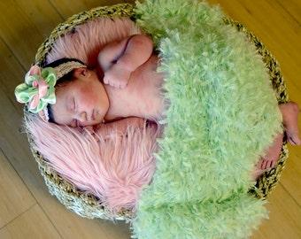mint & pink headband, newborn, infant, toddler, photo prop, glitter, elastic, lace headband, light pink, silver, MORE ELASTIC OPTIONS!