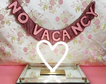 No Vacancy FUN CULT Fringe Banner | wall hanging banner, neon sign inspired banner, open 24 hours, fringe wall hanging, fringe garland decor