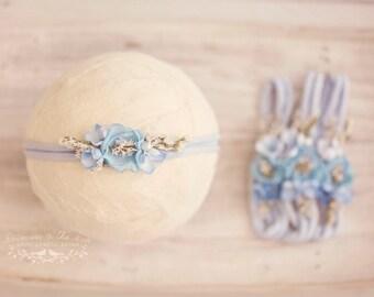 Newborn Tieback, Kiara Newborn Headband, Photo Prop, Pale Blue Newborn Prop, Sky Blue Floral Headband, Light Blue Headband, Lace Headband