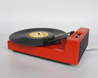 Vintage Record Player / Turntable  /  Phillips Music 5120  / 70's Europe / Red
