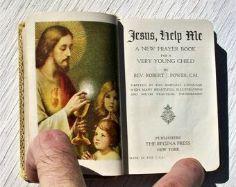 Vintage 1939 Jesus Help Me A New Prayer Book For A Very Young Child Crucifix Inlay
