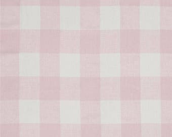 """Light Pink and White CHECK CURTAINS, Pale Pink Check Curtains,Large Check Curtains, Buffalo Check,TWO Drapery Panels,24"""" or 52"""" Wide,Valance"""