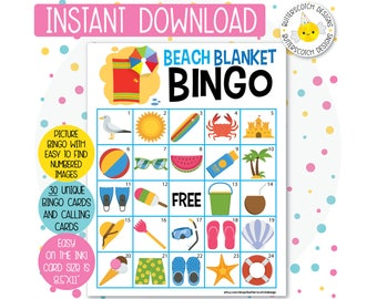 Beach / Summer Pool Party Printable Bingo Cards (30 Different Cards) - Instant Download
