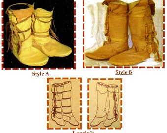 Native American Comanche Indian Moccasin in 3 Styles - SparrowHawk Sewing Pattern #Y006