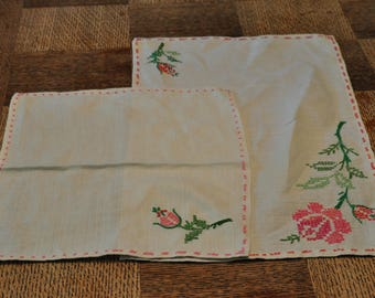 Hand Embroidered Linens Set of Two Handkerchiefs