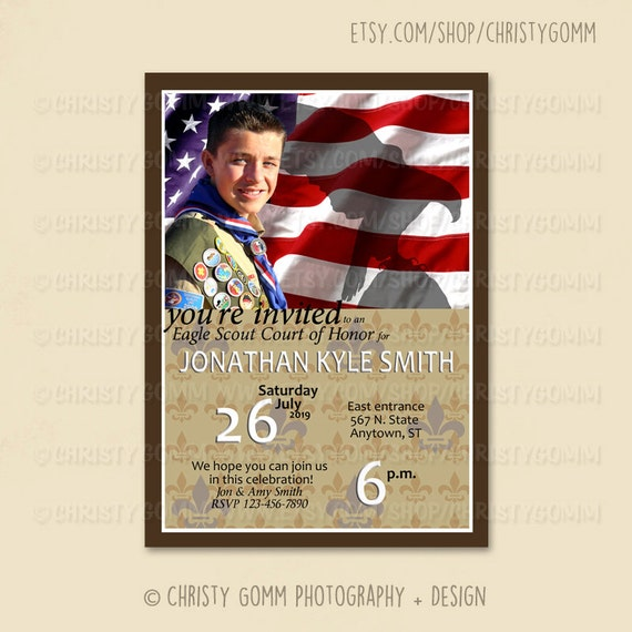 Eagle Scout Court of Honor Invitation Card Boy Scout Invite – Eagle Scout Invitation Cards