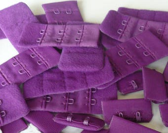Bra / Lingerie Hooks and Eyes 28mm Wide. 2 x 3 rows.  Rich Purple Colour