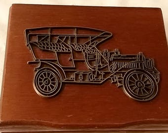 1985 Classic Model T Wood Box Car Set Two Decks Of Playing Cards Unopened W.A. Stratford CT TAIWAN