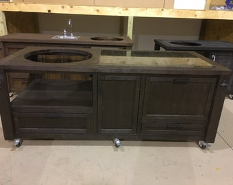 Grill Table U0026 Cabinets W/ Yeti Cooler Drawer   Custom Built For Big Green  Egg
