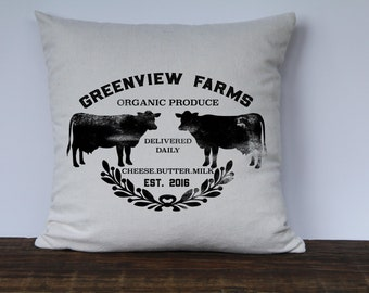 Farmhouse Personalized Pillow cover, Decorative pillow, custom couch pillow, Wedding gift, Anniversary Gift, Last Name Farm Pillow Black