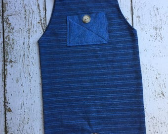 Sitter Photography Prop - upcycled Boys Romper - royal blue - stripe - 6-9 months
