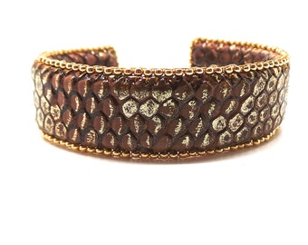 faux leather Cuff Bracelet bronze and Golden glass beads