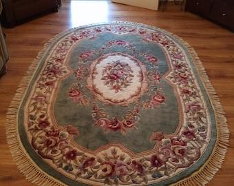 """Large Oval Rug Royal Palace Damask Aubusson 8'6"""" Wool Pile French Style Removable Fringe"""