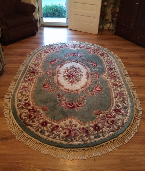 Large Oval Rug Royal Palace Damask Aubusson 8 6 Wool