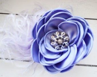 Handcrafted Lavender Over the Top Bow Hair Clip - Ostrich Feather Fascinator - Purple Rose Hair Piece - Fancy Bows -Alligator Clip -Barrette
