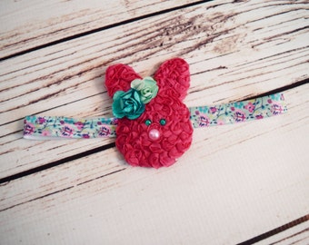 Handcrafted Hot Pink Butterfly Garden Easter Bunny Headband - Mint and Turquoise - Easter Newborn Headband - First Easter Bow - Toddler Girl