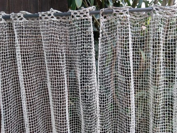 Pair of Antique Net Curtains Cotton Victorian Off White French Filet #sophieladydeparis