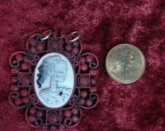 Skeleton Cameo Necklace Charm
