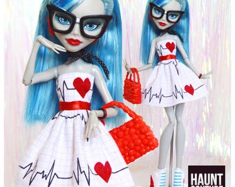 """Monster Doll Haunt Couture 2017 """"Heartbeat"""" high fashion doll clothes jumpsuit"""