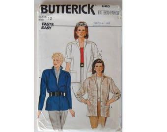 "UNCUT Vintage 80's Butterick #6463 Unlined Short or Long Sleeve Blazer Jacket Sewing Pattern 3 Options Size Bust 34"" UK 12"