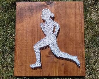 Running string art - running medal holder- runner home decor - marathon - 5K - 10K - half marathon - training - mantle decor - wall decor