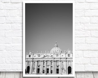 St Peter's Basilica, Vatican Print, Rome Print, Rome Photograph, Rome Photo Print, Black and White, Italian Wall Art, Photo Download