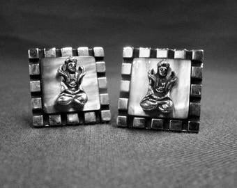 Swank Cuff Links Figural Geometric Silver Gray Metal