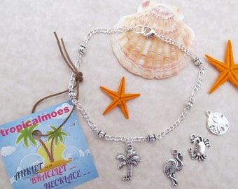 Anklet Palm Tree SilverPlated Beaded, Tropical Fish Anklet, Beach Anklet, Starfish Anklet, SeaHorse Anklet, Crab Anklet,Silver Beaded Anklet
