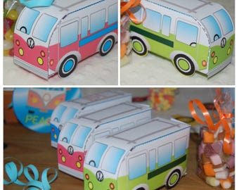 Personalized printable VW Van party favor box (green/pink or blue) Printable by you! Size and product details in description