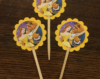 Beauty and the beast cupcake toppers