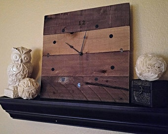 Rustic Dark Stained Square Wall Clock, Barnwood Clock, Shabby Wall Clock, Modern Wall Clock, Country Wall Clock, Rustic Home Decor