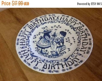 On Sale Decorative 9 inch Happy Birthday  Plate from Yesterday's Children Blue and White Collectible from Royal Crownford by Norman Sherman