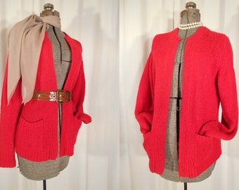 Vintage 1950s Sweater - 50s Red Cardigan / Small Cherry Red Acrylic Sweater / 60s Sm Bombshell Pin Up Cardigan