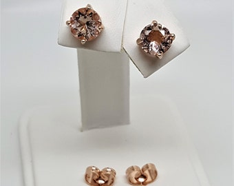 Morganite Round 1.77ctw 14kt Rose Gold Stud Earrings