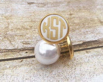 Pearl Back Earrings, Monogram Earrings, Peekaboo Earrings, Pearl Stud Earrings, Bridesmaid Gift, Bride, Button Earrings, Gold Earrings