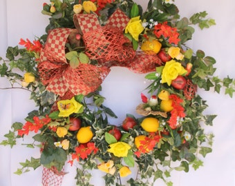 Wreath, red and yellow spring or summer with fruits and critters