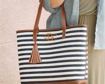 Monogrammed Purse Tote Bag Leather Like Monogram Teacher Chandler Stripe