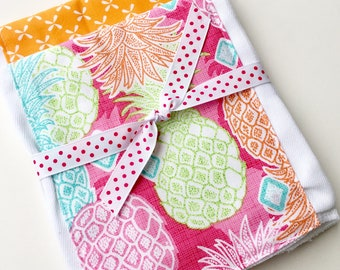 Babies Burp Cloth Set- Burp Rags-Cute Pink Green Orange Preppy Pineapples, Baby Shower Gift, For Feeding Nursing Cloths, Matching Bib
