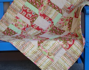 Handmade Baby Quilt Cotton Funky Attic Windows