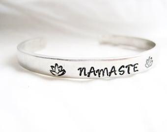 YOGA BRACELET CUFF- Hand Stamped Bracelet,  Namaste Bracelet, Meditation Bracelet, Yoga Jewelry, Lotus Jewelry, Namaste Jewelry