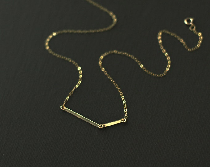 Gold Fill Bar Minimalist Necklace