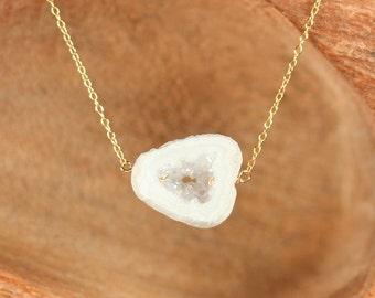Angel aura druzy necklace - raw crystal necklace - healing crystal - quartz - a white geode druzy on a 14k gold vermeil chain