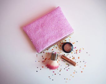 Pastel Purple Glitter Makeup Bag, Pastel Glitter Cosmetic Bag, Purple Zipped Pouch, Pastel Purple Toiletry Bag, Pastel Clutch Bag,