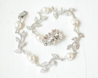 Pearl Bracelet Wedding, Vine Bridal Bracelet, Vine Jewelry, Bridal Jewelry