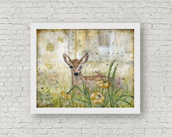 "Fawn painting, art print, mixed media, ""Spring Fawn"""