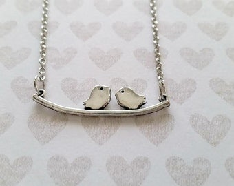 Love Bird Necklace - Two Birds on a Branch