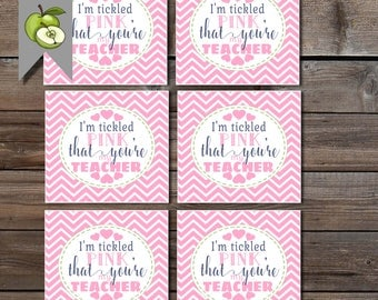 tickled pink tags, Teacher gift tags, I'm tickled pink that you're my teacher, gift tag, Teacher gift tags, printable, tickled pink