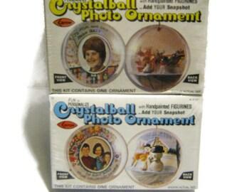 Vintage Christmas Diorama Ball Ornament Kit Crystal Photo Decoration Sealed NOS Miniature Girl Santa Reindeer Snowman Plastic Mini