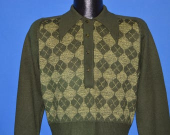 70s Green Argyle Wool Button Top Pullover Sweater Large